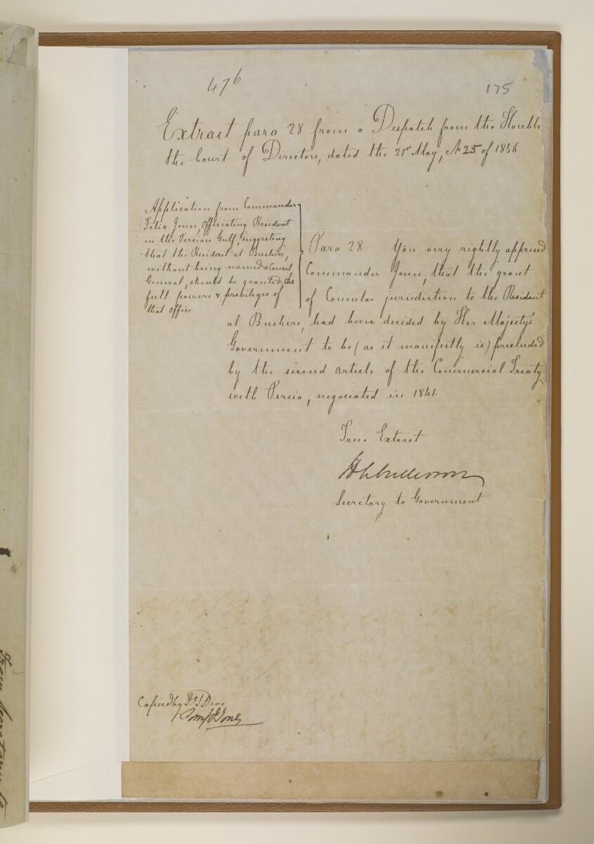 Letter no.3737 of 1856 from Henry Anderson, Secretary to the Government of Bombay, to Commander Felix Jones, Acting Resident in the Persian Gulf [175r] (3/12)
