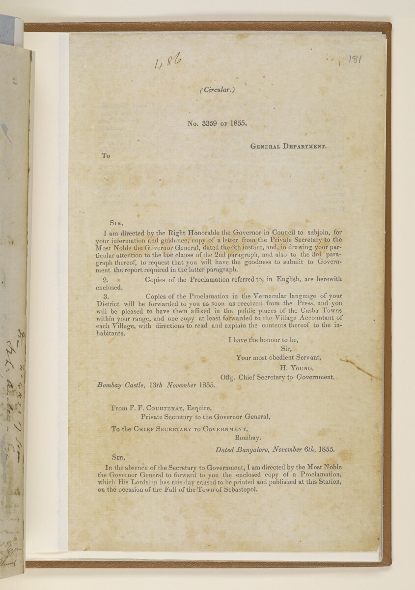 Letter no.4672 of 1855 from Henry Anderson, Secretary to the Government of Bombay, to Commander Felix Jones, Acting Resident in the Persian Gulf [181r] (3/4)