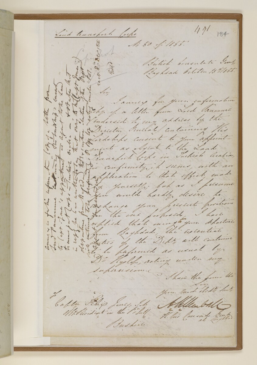 Letter no.430 of 1855 from Commander Felix Jones, Acting Resident in the Persian Gulf, Henry Anderson, Secretary to the Government of Bombay [‎184r] (5/6)