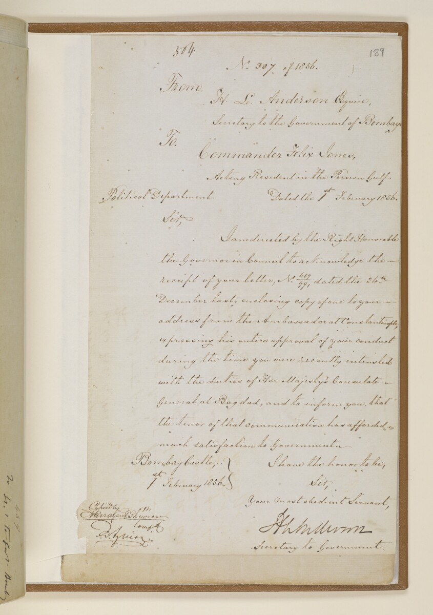 Letter no.307 of 1856 from Henry Anderson, Secretary to the Government of Bombay, to Commander Felix Jones, Acting Resident in the Persian Gulf [‎189r] (1/2)