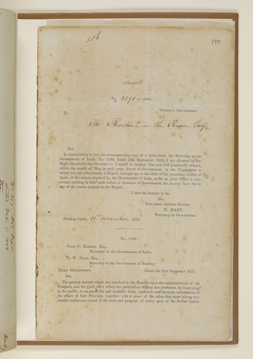 Circular no.3391 of 1855, from W. Hart, Secretary to Government, to the Resident in the Persian Gulf [190r] (1/4)