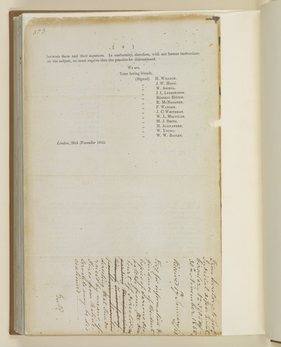 Circular no.5105 of 1855, from Henry Anderson, Secretary to the Government of Bombay, to the Resident in the Persian Gulf [193v] (4/4)