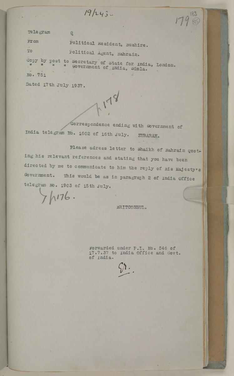 'File 19/243 II (C 72) Zubarah' [185r] (384/444)