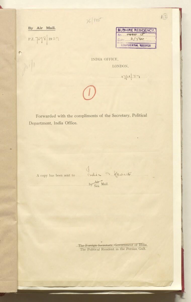 'File 26/185 V (F 96) Shaikh of Mohammerah' [2r] (9/472)