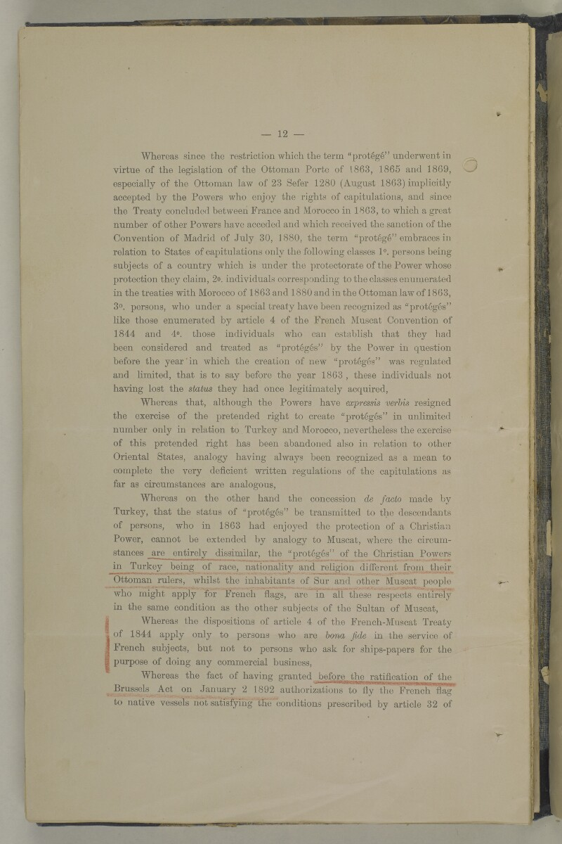 'Muscat Dhows Arbitration. In the Permanent Court of Arbitration at the Hague. Grant of the French Flag to Muscat Dhows. The case on behalf of the Government of His Britannic Majesty.' [86v] (191/208)