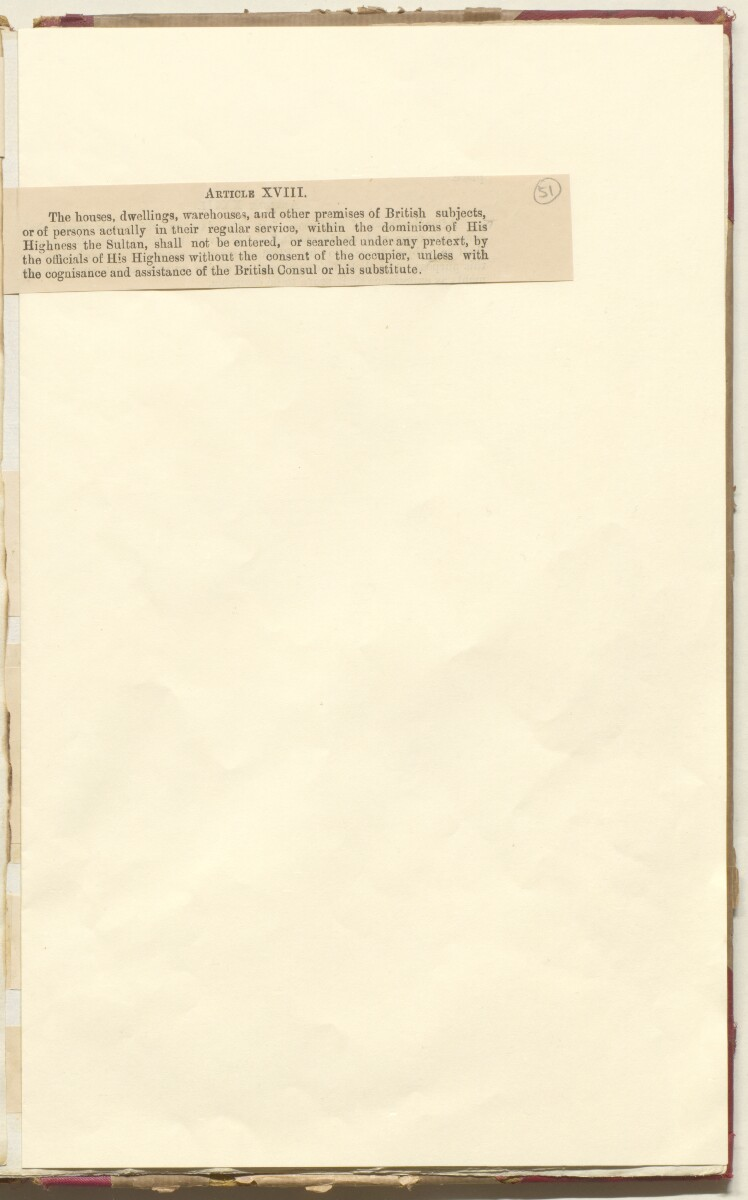 'File 35/86 II A 45 Muscat - Commercial Treaty of 1891 and revision of treaty 1922' [‎51r] (107/572)