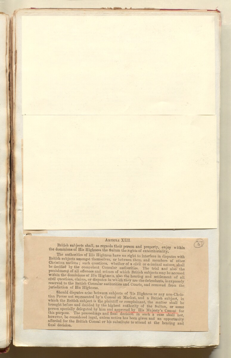 'File 35/86 II A 45 Muscat - Commercial Treaty of 1891 and revision of treaty 1922' [37r] (79/572)