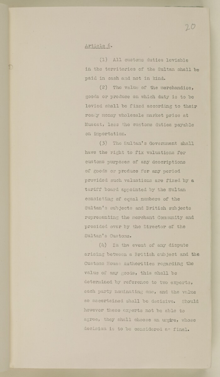 File 35/86 V A  77 Muscat Commercial Treaty' [ 20r] (54/442