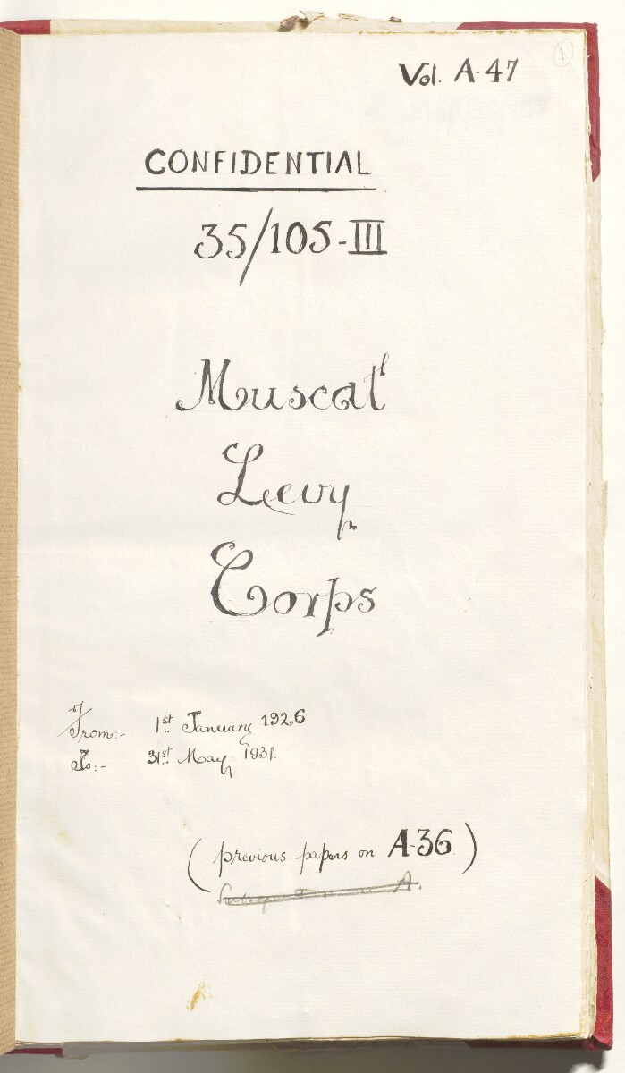 'Muscat Levy Corps' [1r] (12/292)