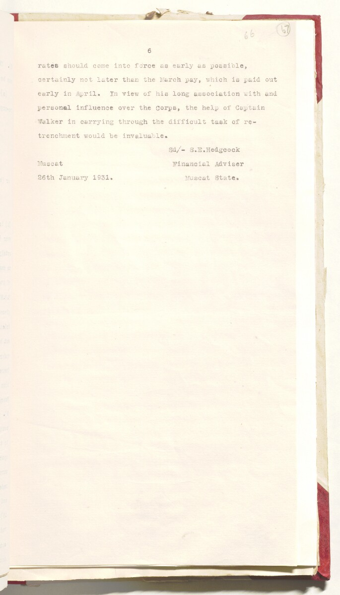 'Muscat Levy Corps' [67r] (146/292)
