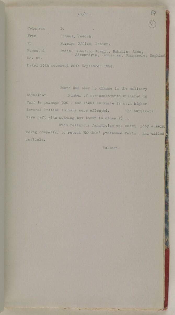 'File 61/11 I (D 41) Relations between Nejd and Hejaz' [81r] (174/600)