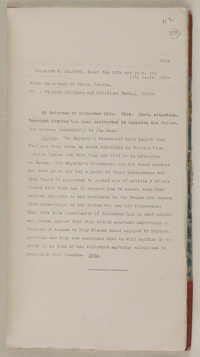 'File 61/11 I (D 41) Relations between Nejd and Hejaz' [‎109r] (230/600)