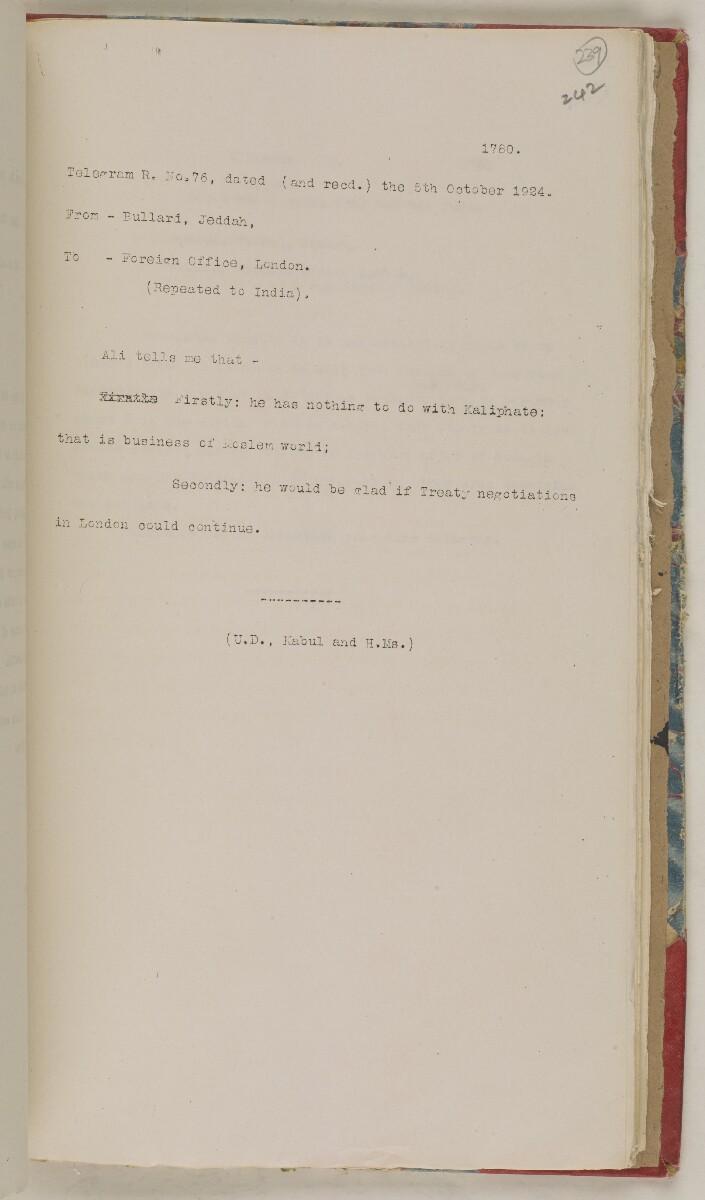 'File 61/11 I (D 41) Relations between Nejd and Hejaz' [239r] (490/600)