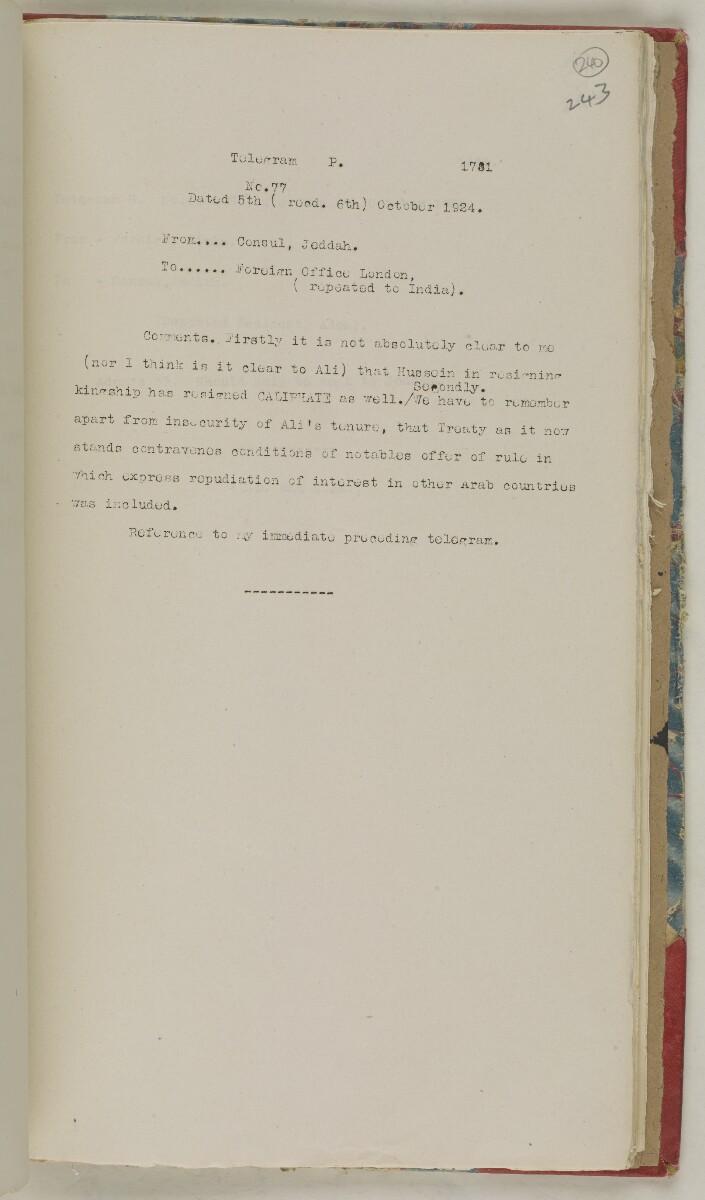 'File 61/11 I (D 41) Relations between Nejd and Hejaz' [240r] (492/600)