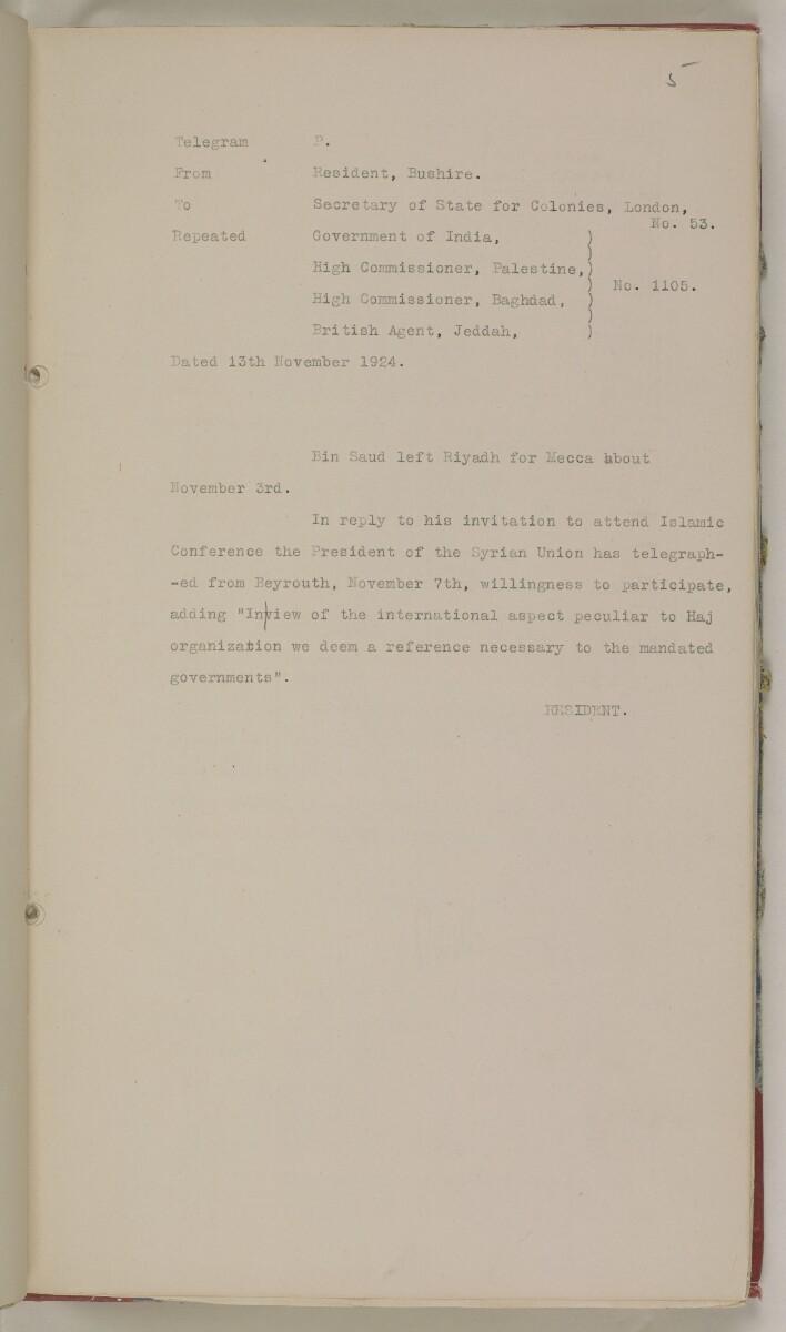 'File 61/11 II (D 42) Relations between Nejd and Hejaz' [5r] (24/622)