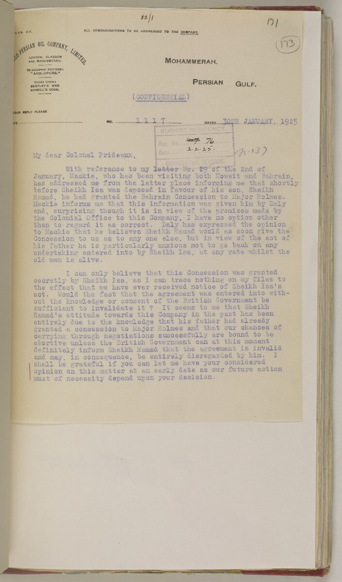 'File 82/1 III (F 64) Prospecting licenses for Kuwait, Bahrain, Nejd, Trucial Coast and Oman' [‎173r] (360/651)