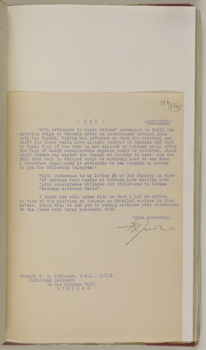 'File 82/1 III (F 64) Prospecting licenses for Kuwait, Bahrain, Nejd, Trucial Coast and Oman' [174r] (362/651)