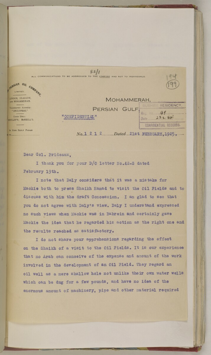 'File 82/1 III (F 64) Prospecting licenses for Kuwait, Bahrain, Nejd, Trucial Coast and Oman' [‎199r] (412/651)