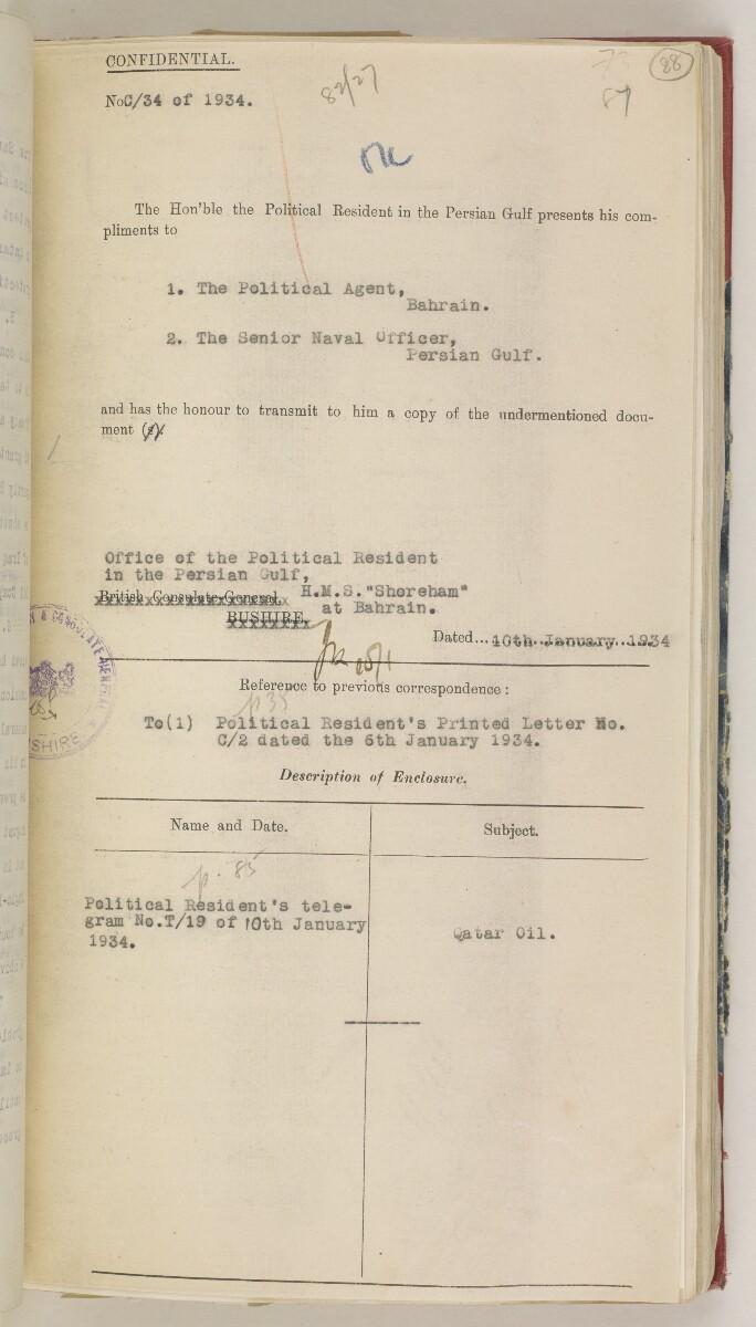 'F 83 File 82/27-II QATAR OIL' [88r] (190/630)