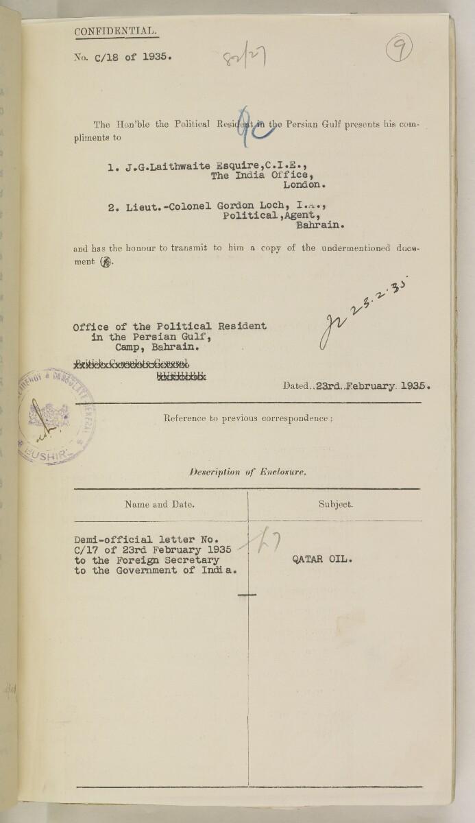 'File 82/27 VI (F 87) Qatar Oil' [9r] (30/454)