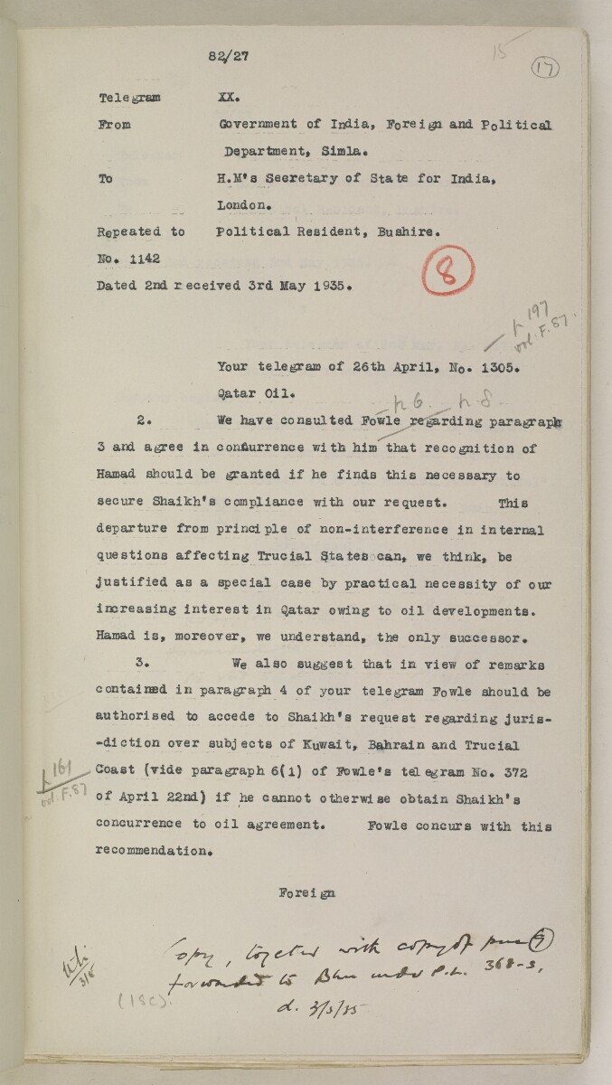 'File 82/27 VII F. 88. QATAR OIL' [17r] (42/468)