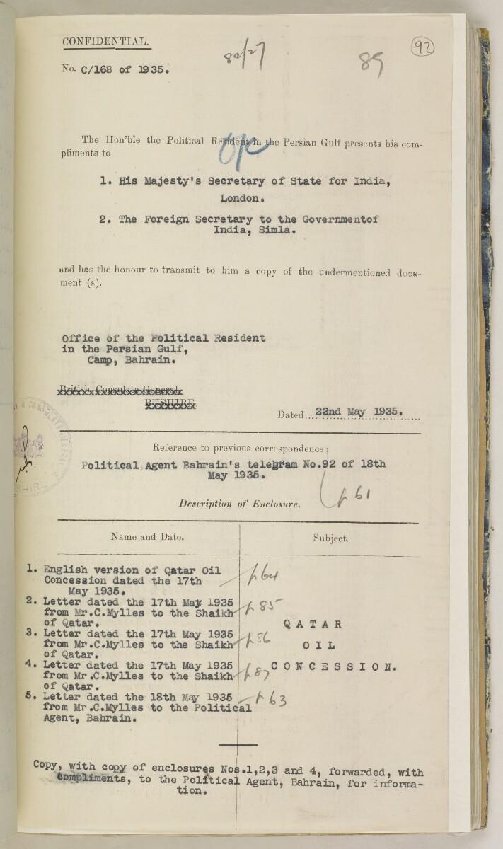 'File 82/27 VII F. 88. QATAR OIL' [92r] (194/468)