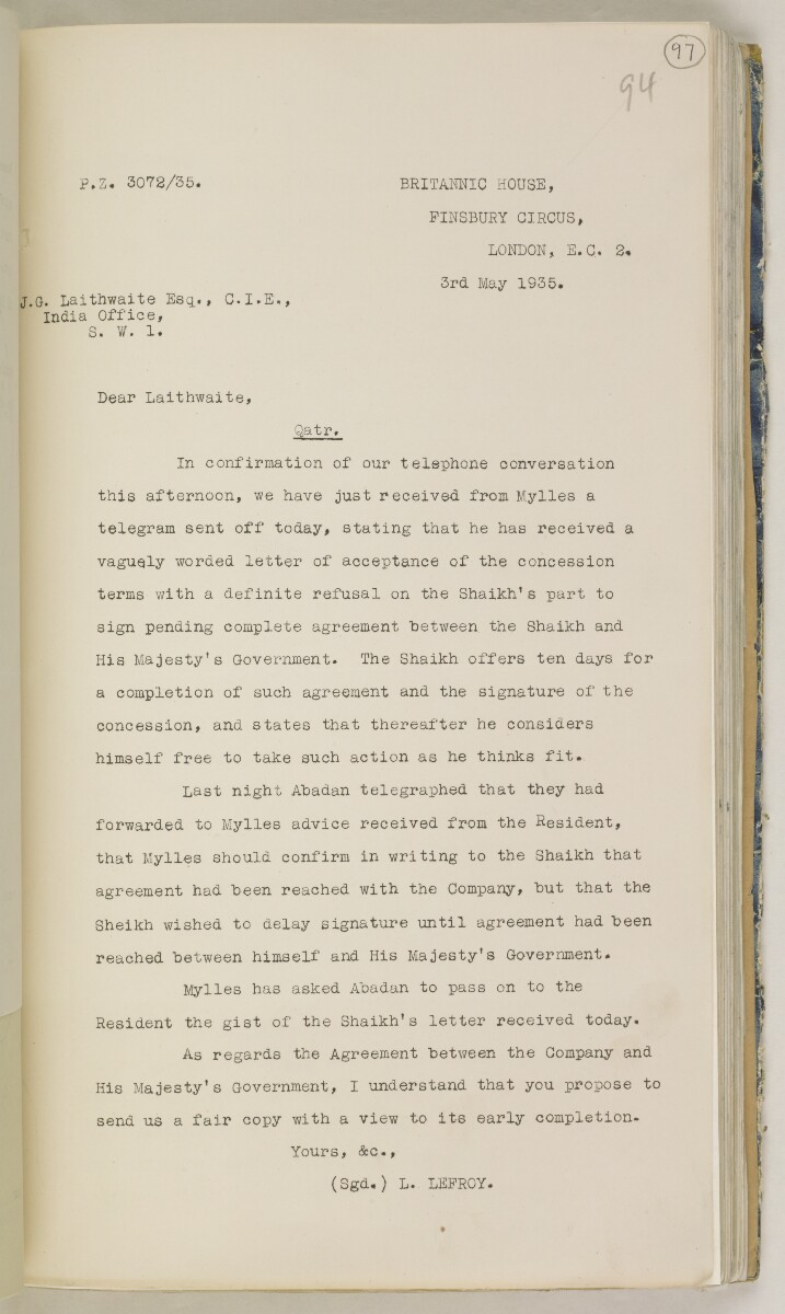 'File 82/27 VII F. 88. QATAR OIL' [‎97r] (204/468)