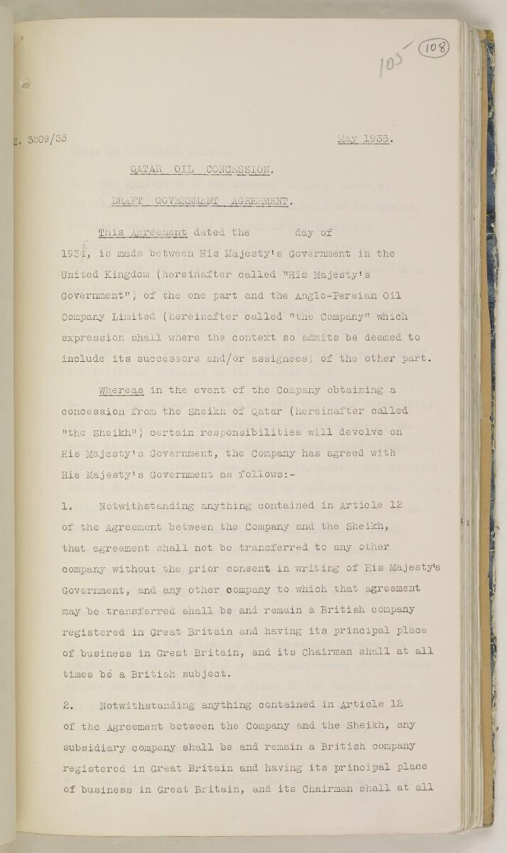 'File 82/27 VII F. 88. QATAR OIL' [108r] (226/468)