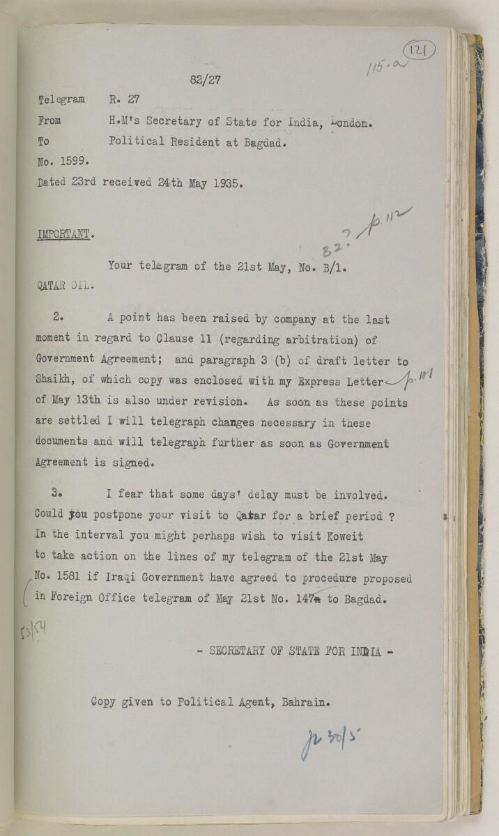 'File 82/27 VII F. 88. QATAR OIL' [121r] (252/468)