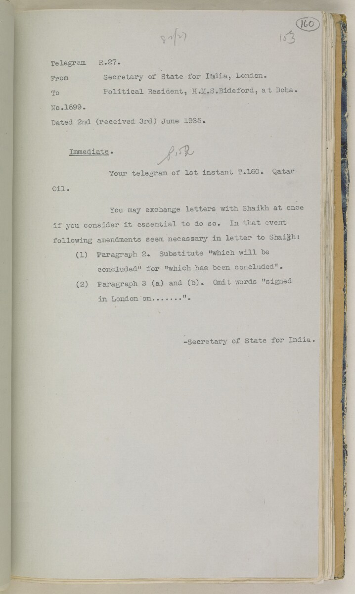 'File 82/27 VII F. 88. QATAR OIL' [160r] (328/468)