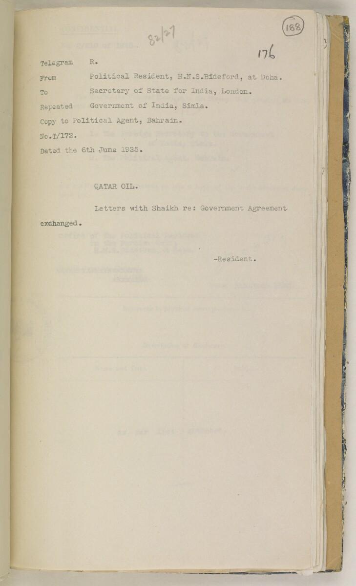 'File 82/27 VII F. 88. QATAR OIL' [188r] (384/468)
