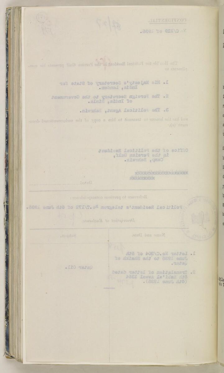'File 82/27 VII F. 88. QATAR OIL' [191v] (391/468)