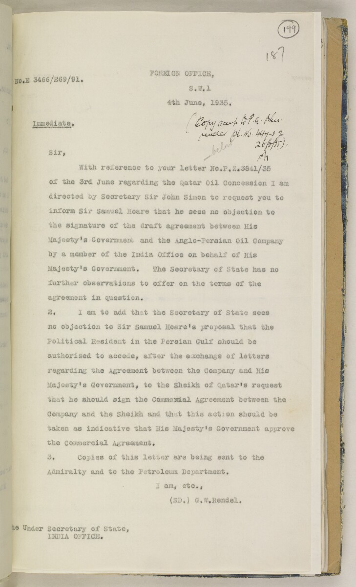 'File 82/27 VII F. 88. QATAR OIL' [199r] (406/468)