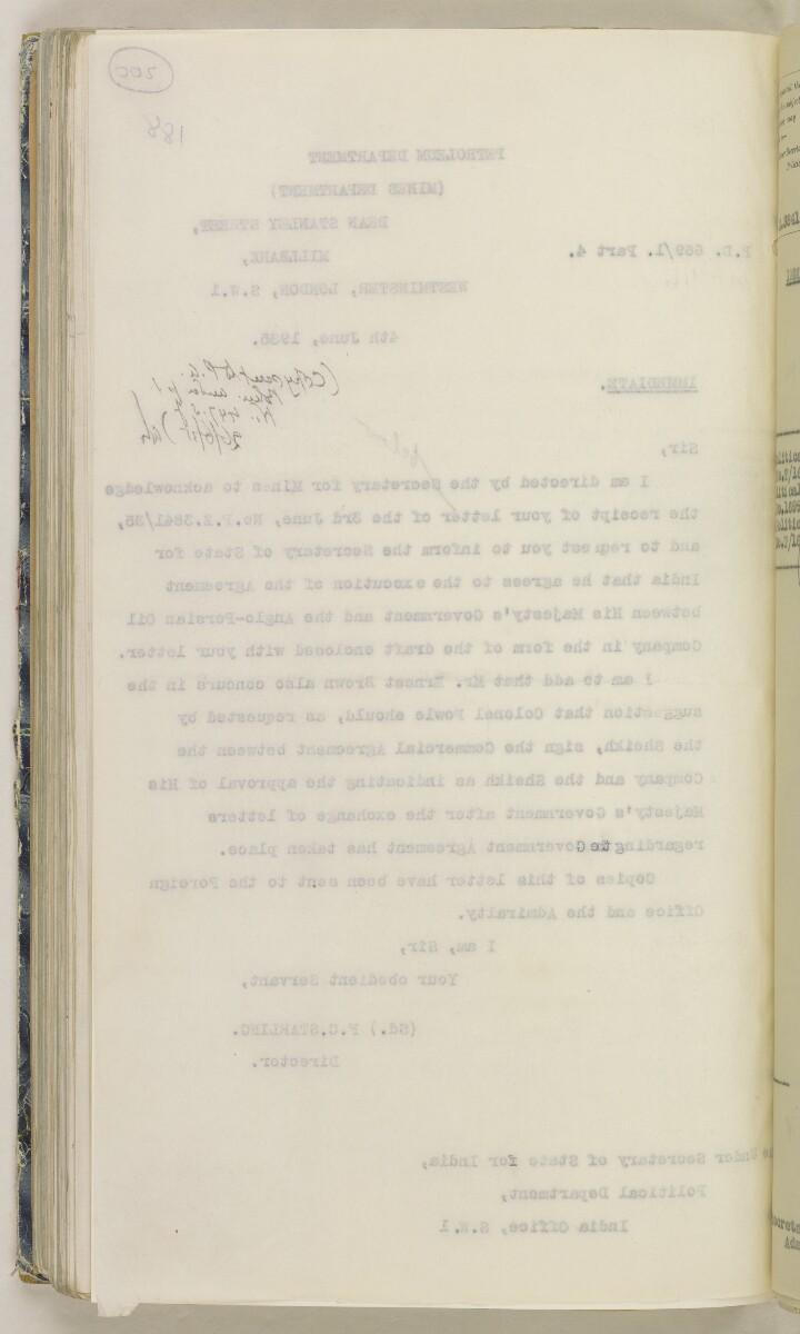 'File 82/27 VII F. 88. QATAR OIL' [200v] (409/468)