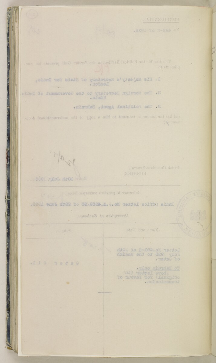 'File 82/27 VII F. 88. QATAR OIL' [‎219v] (447/468)