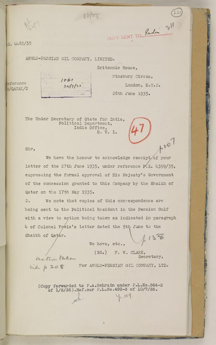 'File 82/27 VII F. 88. QATAR OIL' [221r] (450/468)