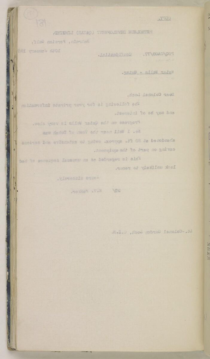 'File 82/27 VIII F 91 QATAR OIL' [179v] (371/468)