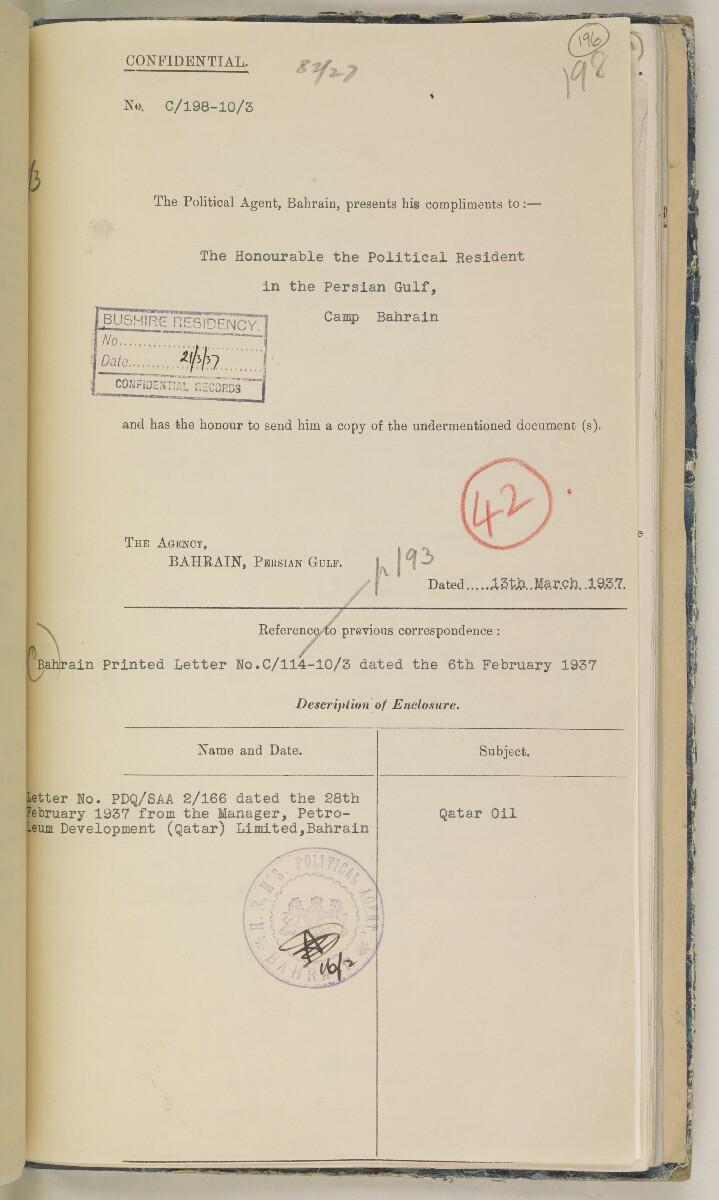 'File 82/27 VIII F 91 QATAR OIL' [196r] (404/468)