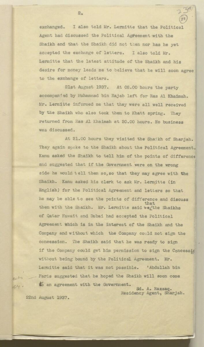 'Confidential 86/7-VIII B-45 P.C.L. TRUCIAL COAST' [29r] (62/444)