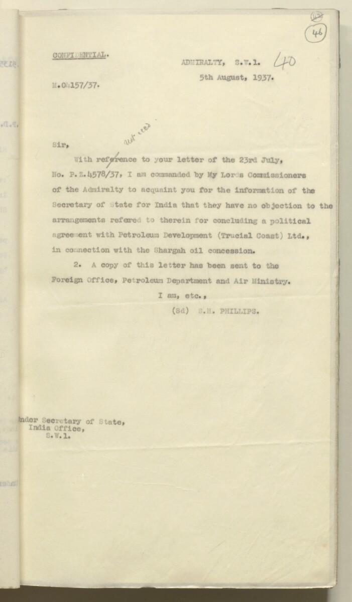 'Confidential 86/7-VIII B-45 P.C.L. TRUCIAL COAST' [46r] (96/444)