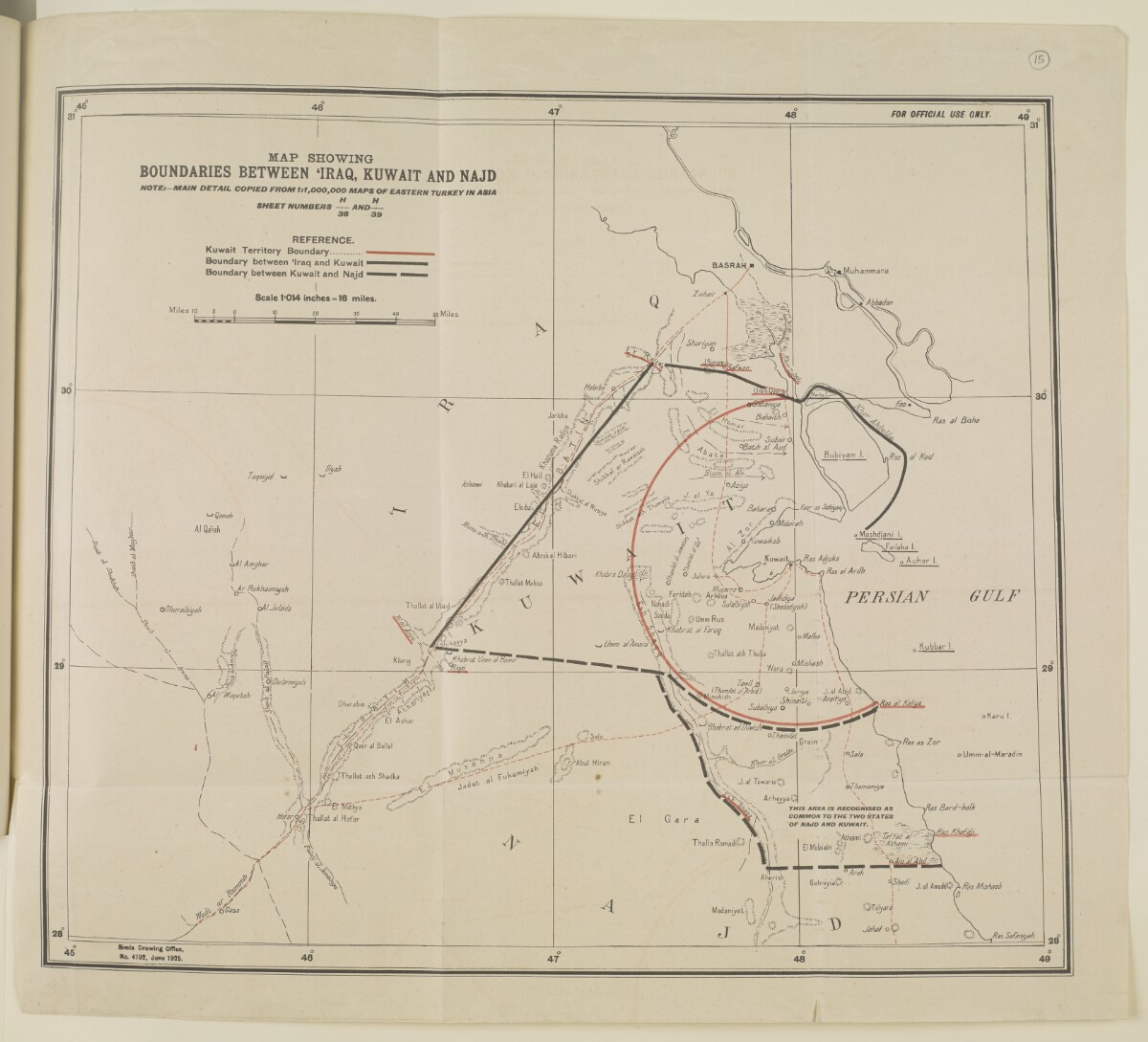 'Map showing boundaries between Iraq, Kuwait and Najd' [‎15r] (1/2)