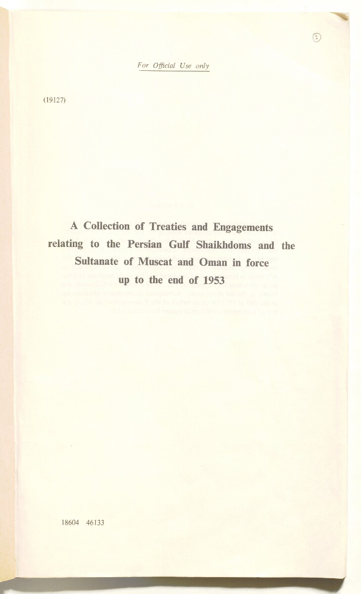 'A Collection of Treaties and Engagements relating to the Persian Gulf Shaikhdoms and the Sultanate of Muscat and Oman in force up to the End of 1953' [2r] (3/92)