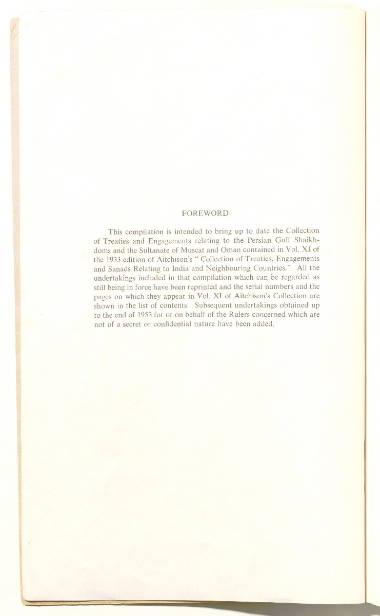 'A Collection of Treaties and Engagements relating to the Persian Gulf Shaikhdoms and the Sultanate of Muscat and Oman in force up to the End of 1953' [2v] (4/92)