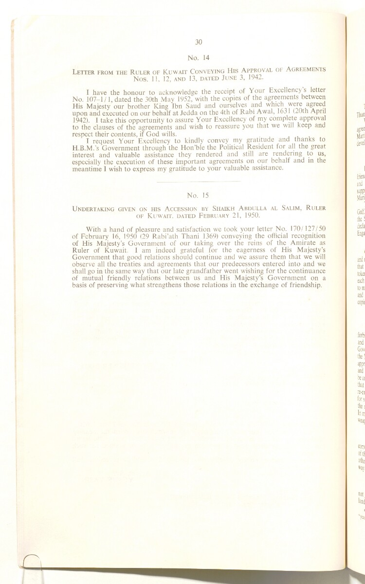'A Collection of Treaties and Engagements relating to the Persian Gulf Shaikhdoms and the Sultanate of Muscat and Oman in force up to the End of 1953' [‎16v] (34/92)