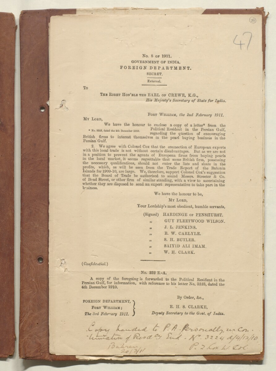 'File A/5 Pearl fisheries of Persian Gulf' [24r] (47/62)
