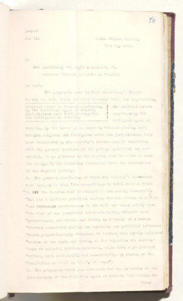 Letter from John Morley to The Governor General of India, dated 21 May 1909. IOR/R/15/2/6, ff. 50–52