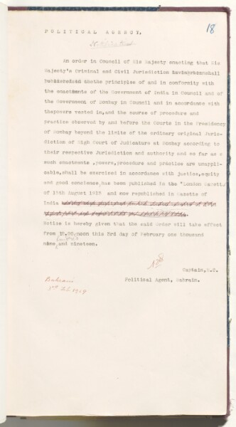 English text of the notification of the Order in Council, dated 3 February 1919. IOR/R/15/2/7, f. 18