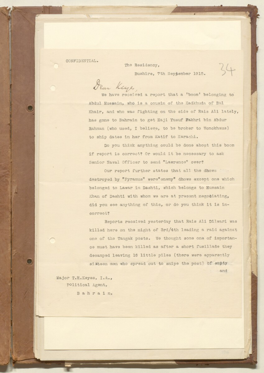 'File W/4 Hostilities in Persia: Tangistan Blockade; Confiscation of Tea for Tangistan' [‎34r] (65/411)