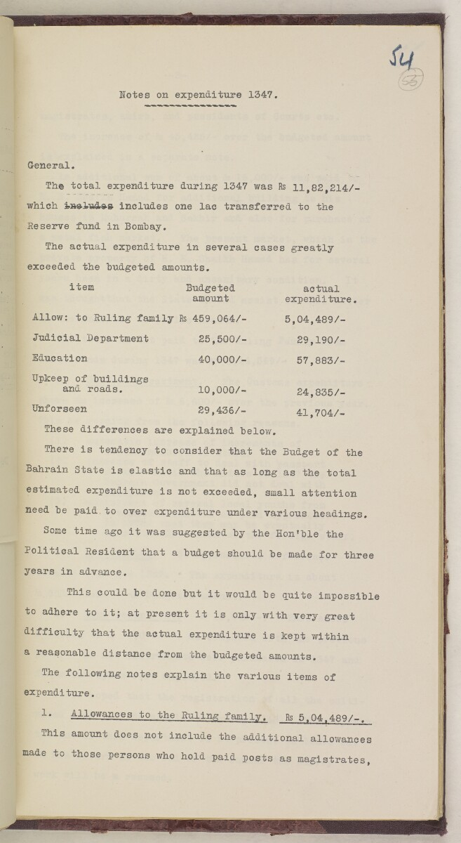 'File 9/2 II Bahrain Reforms: Finances of the Bahrain Government' [55r] (124/302)