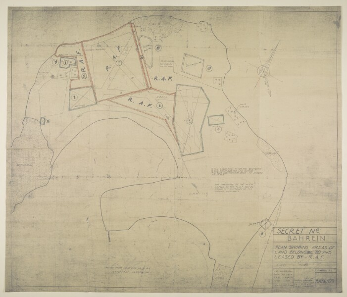 Map showing land owned and leased by the RAF at Muharraq in Bahrain, dated 17 May 1946. IOR/R/15/2/262, f. 15